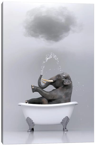 Elephant Relaxing In The Bath 3 Canvas Art Print