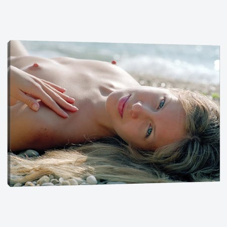 Young Woman Relaxing On The Beach Canvas Print #MII93} by Mike Kiev Canvas Art