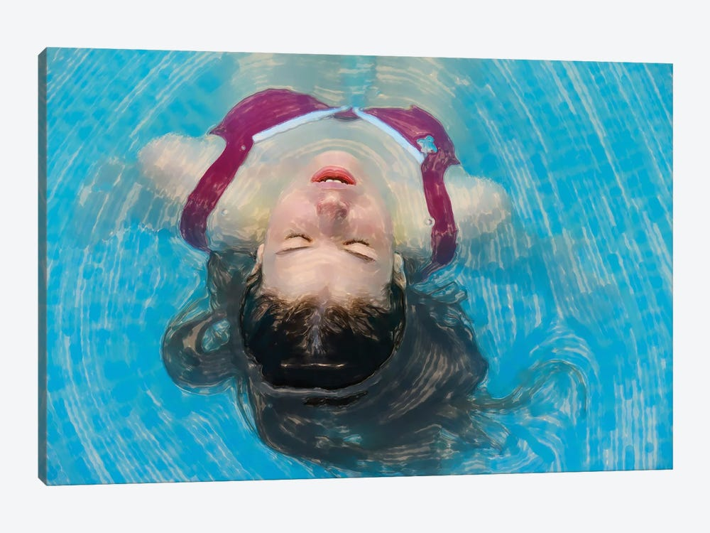 Young Woman Relaxing In The Pool by Mike Kiev 1-piece Art Print