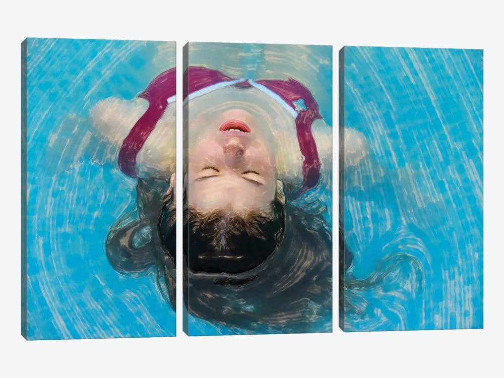 Young Woman Relaxing In The Pool by Mike Kiev 3-piece Art Print