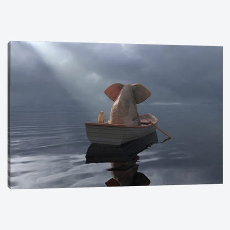 An Elephant And A Dog Float In A Boat After The Rain Canvas Print #MII96} by Mike Kiev Canvas Art Print