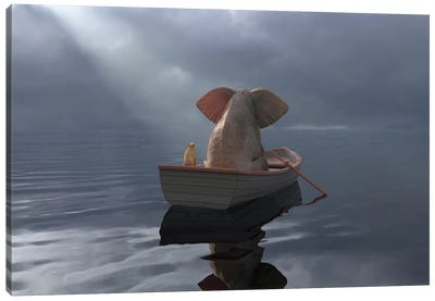 An Elephant And A Dog Float In A Boat After The Rain Canvas Art Print