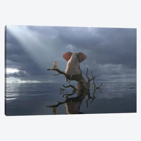 Elephant And Dog Are Sitting On A Tree In Flood II Canvas Print #MII98} by Mike Kiev Canvas Artwork