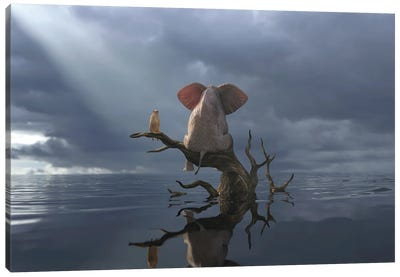 Elephant And Dog Are Sitting On A Tree In Flood II Canvas Art Print