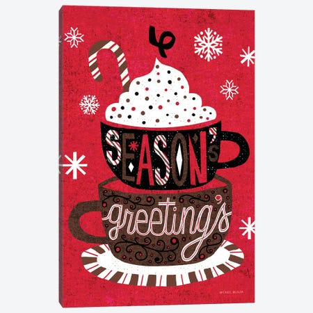 Vintage Holiday Cocoa Seasons Greetings Canvas Print #MIM13} by Michael Mullan Canvas Art