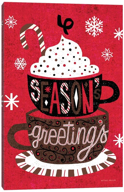 Vintage Holiday Cocoa Seasons Greetings Canvas Art Print
