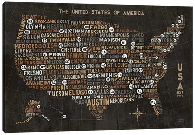 US City Map Black Canvas Art Print