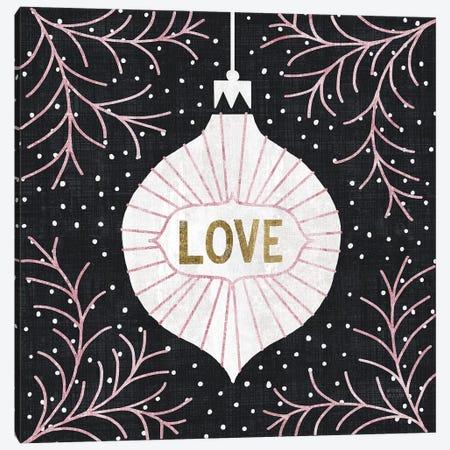 Jolly Holiday Ornaments Love Metallic Canvas Print #MIM26} by Michael Mullan Canvas Art