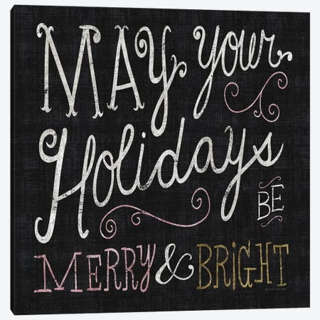 Quirky Christmas Merry and Bright Metallic Canvas Print #MIM27} by Michael Mullan Canvas Artwork