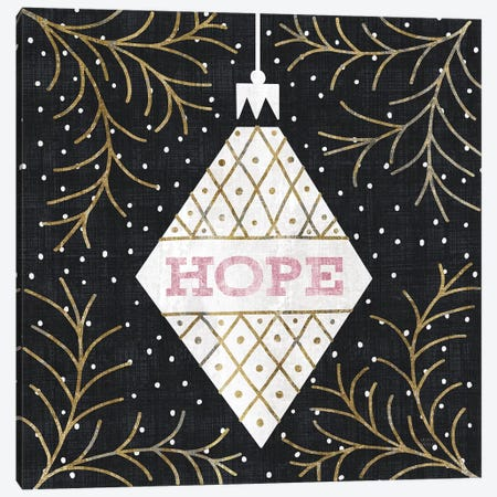 Jolly Holiday Ornaments Hope Metallic Canvas Print #MIM29} by Michael Mullan Canvas Art Print