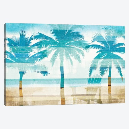 Beachscape Palms With Chair Canvas Print #MIM2} by Michael Mullan Canvas Artwork