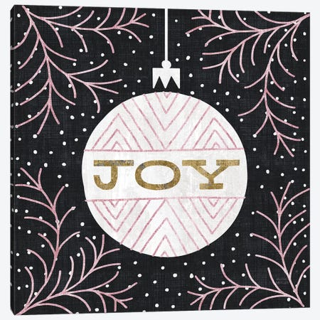 Jolly Holiday Ornaments Joy Metallic Canvas Print #MIM30} by Michael Mullan Canvas Wall Art