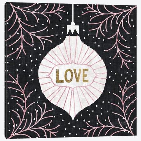 Jolly Holiday Ornaments Love Metallic Canvas Print #MIM31} by Michael Mullan Canvas Art
