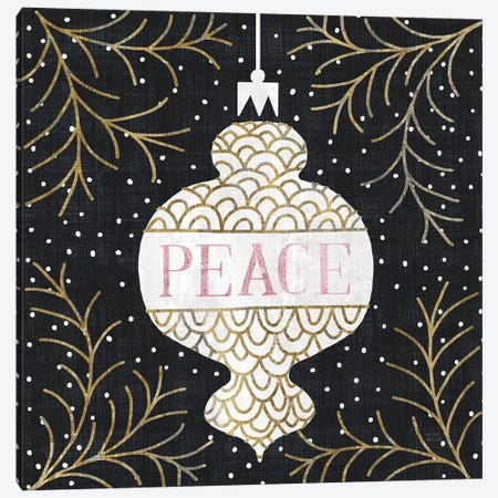 Jolly Holiday Ornaments Peace Metallic Canvas Print #MIM32} by Michael Mullan Canvas Wall Art