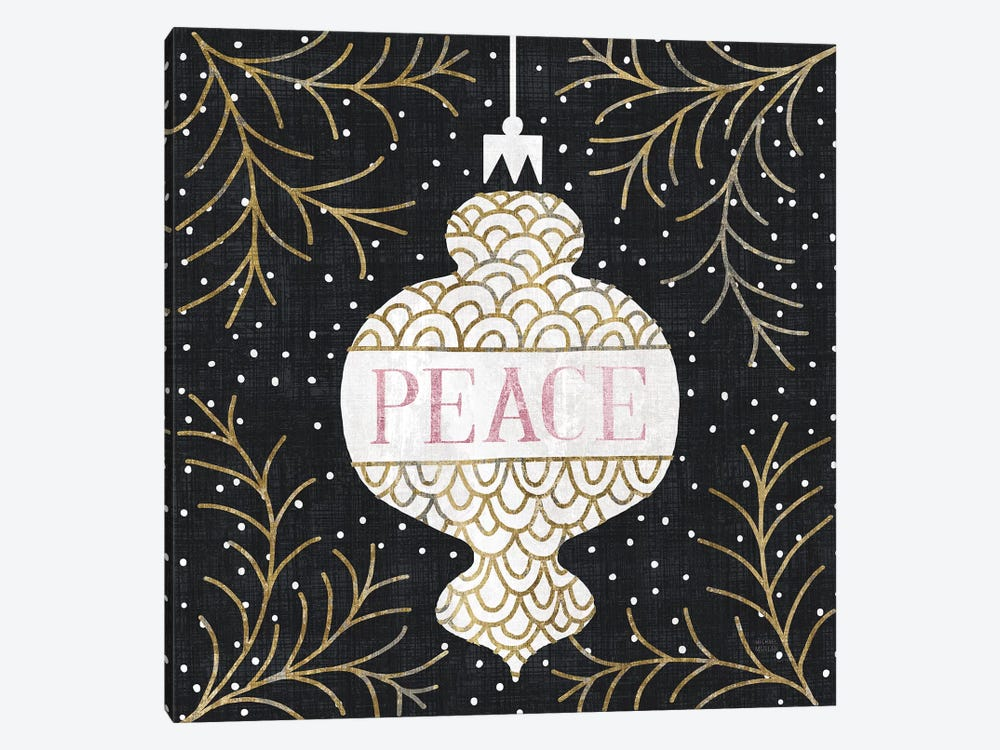 Jolly Holiday Ornaments Peace Metallic by Michael Mullan 1-piece Canvas Art