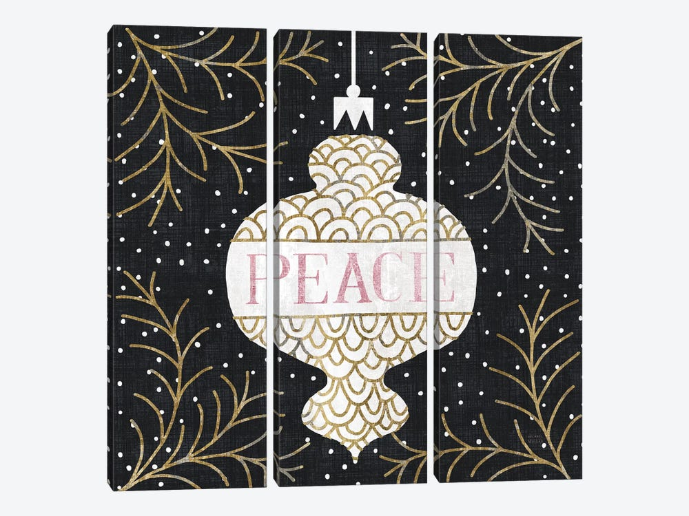Jolly Holiday Ornaments Peace Metallic by Michael Mullan 3-piece Canvas Art
