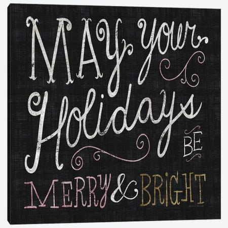 Quirky Christmas Merry and Bright Metallic Canvas Print #MIM33} by Michael Mullan Canvas Artwork