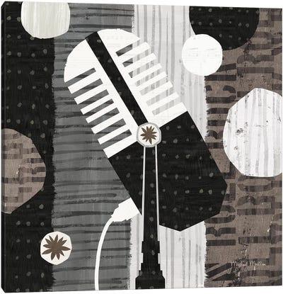 Rock N Roll Mic Neutral Canvas Art Print