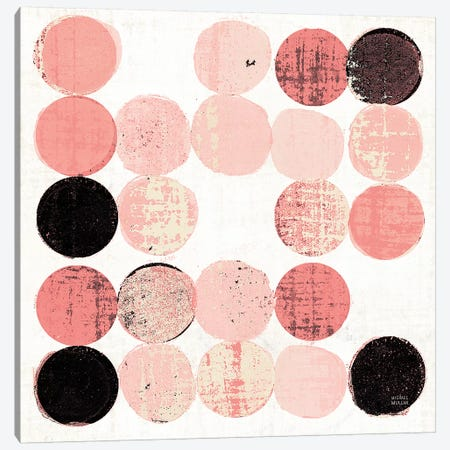 Dots II Square I Pink Black Canvas Print #MIM38} by Michael Mullan Canvas Wall Art