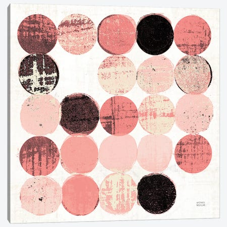 Dots II Square II Pink Black Canvas Print #MIM39} by Michael Mullan Canvas Wall Art