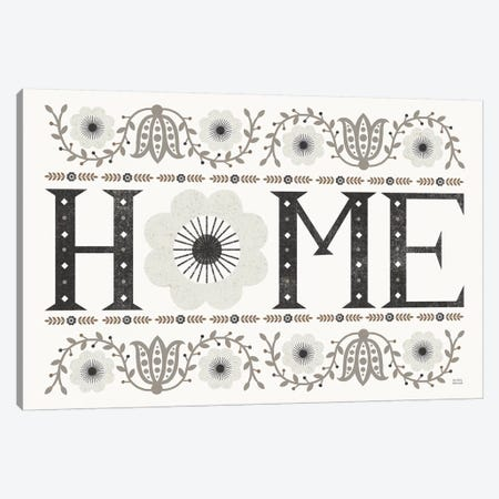 Folk Lodge Home v2 Neutral Canvas Print #MIM40} by Michael Mullan Art Print