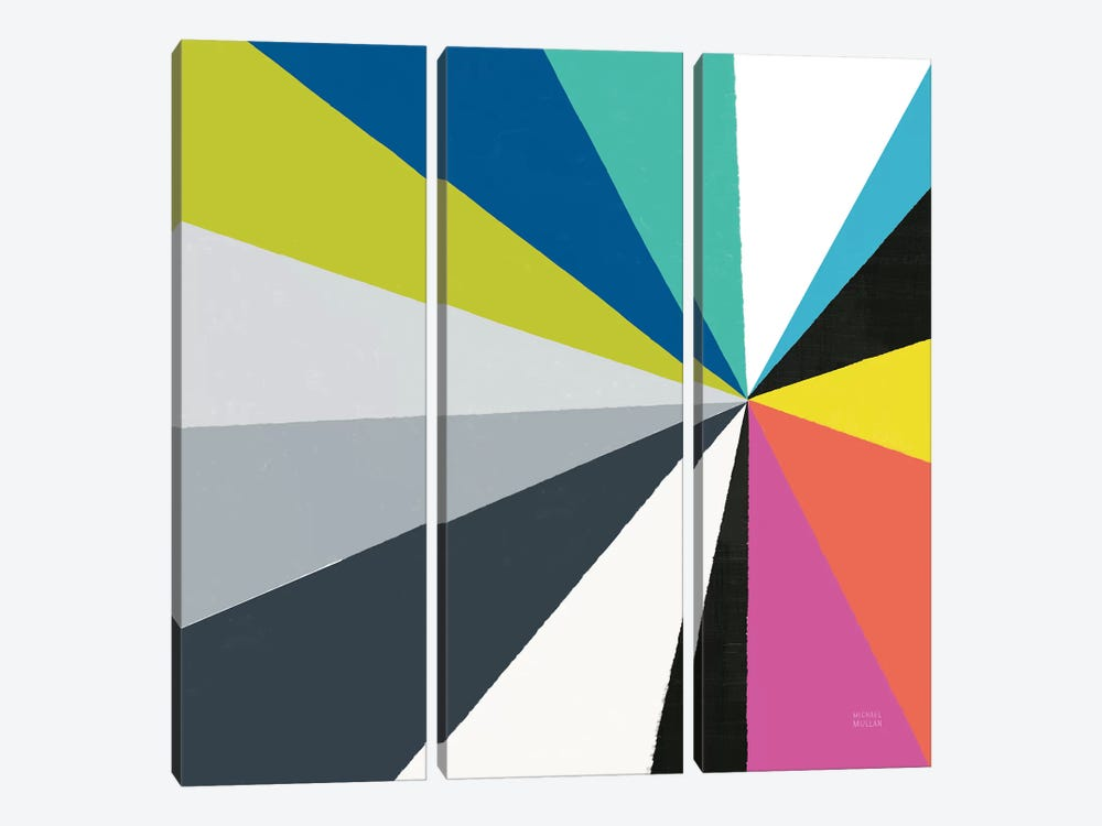 Triangulawesome Color III by Michael Mullan 3-piece Canvas Artwork