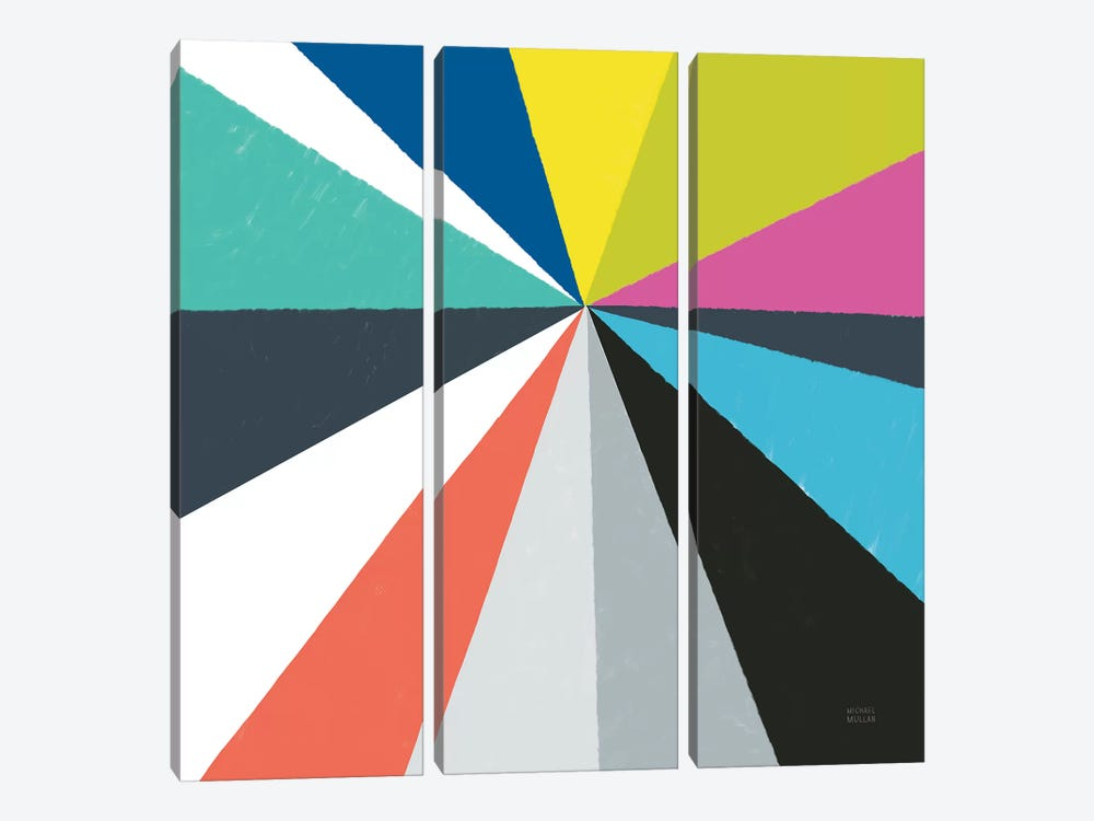 Triangulawesome Color IV by Michael Mullan 3-piece Canvas Art Print