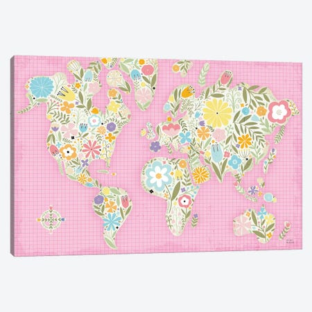 Floral World Pink Canvas Print #MIM53} by Michael Mullan Canvas Art