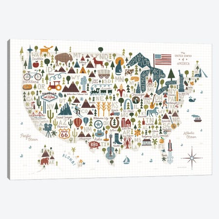 Illustrated USA Warm Canvas Print #MIM63} by Michael Mullan Canvas Art Print