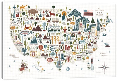 Illustrated USA Warm Canvas Art Print