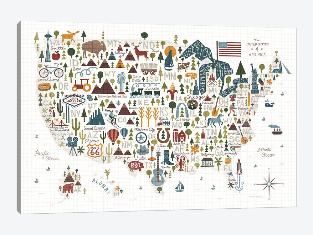 Illustrated USA Warm by Michael Mullan 1-piece Canvas Artwork