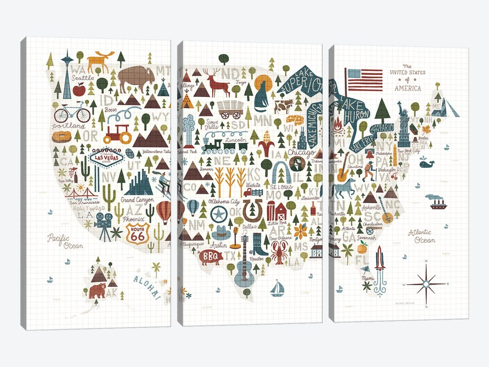 Illustrated USA Warm by Michael Mullan 3-piece Canvas Wall Art