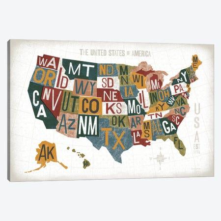 Letterpress USA Map Warm Canvas Print #MIM64} by Michael Mullan Canvas Artwork