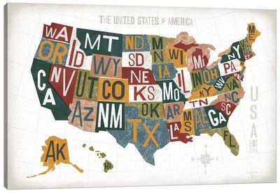 Letterpress USA Map Warm Canvas Art Print