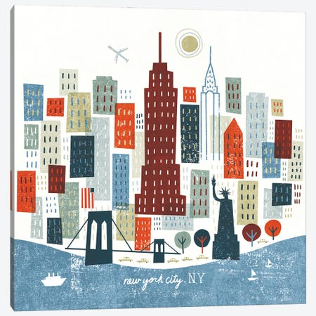 Colorful New York Canvas Print #MIM66} by Michael Mullan Canvas Wall Art