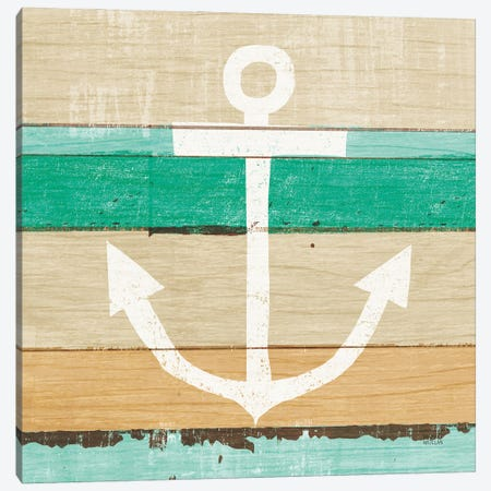 Beachscape III Anchor Green Canvas Print #MIM69} by Michael Mullan Canvas Print