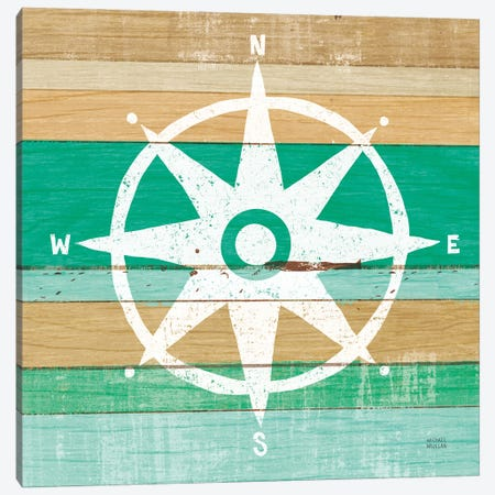 Beachscape IV Compass Green Canvas Print #MIM70} by Michael Mullan Canvas Art