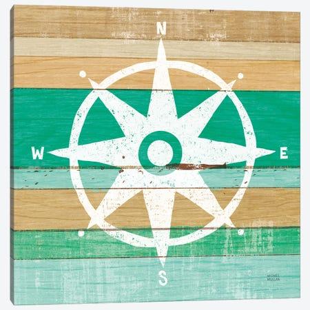 Beachscape IV Compass Green Canvas Print #MIM70} by Michael Mullan Canvas Art