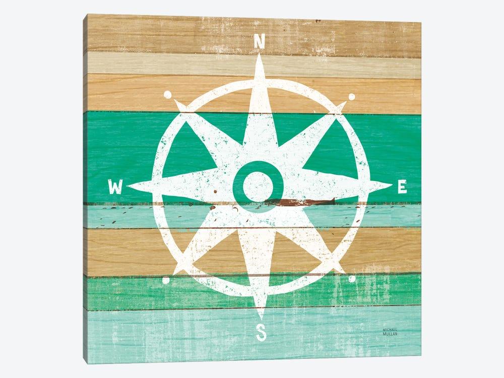 Beachscape IV Compass Green by Michael Mullan 1-piece Canvas Wall Art