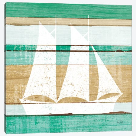 Beachscape V Boat Green Canvas Print #MIM71} by Michael Mullan Canvas Art