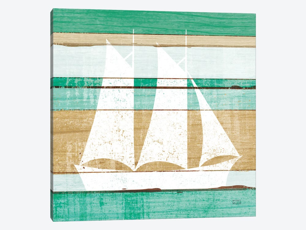 Beachscape V Boat Green by Michael Mullan 1-piece Canvas Print