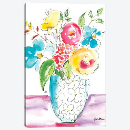 Flower Burst Vase I Canvas Print #MIN1} by Julia Minasian Canvas Print