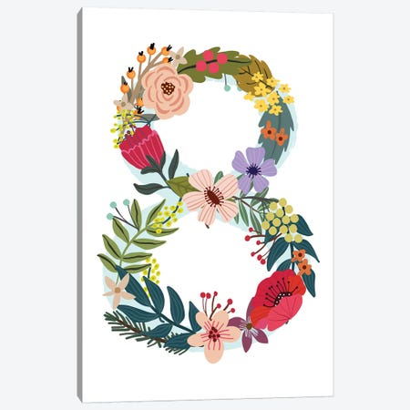 Floral Eight Canvas Print #MIO111} by Mia Charro Canvas Wall Art