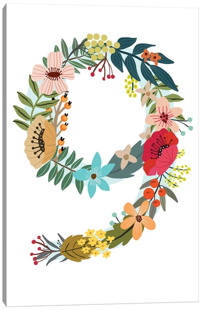 Floral Nine Canvas Art Print