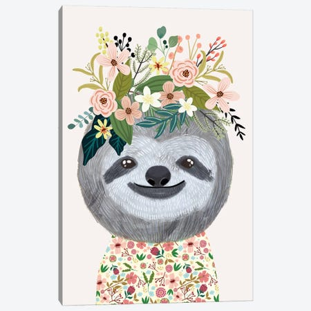 Sloth Canvas Print #MIO119} by Mia Charro Canvas Art