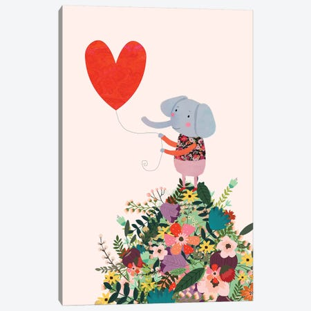 Elephant Heart Canvas Print #MIO13} by Mia Charro Canvas Art