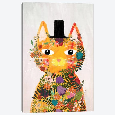 Flower Cat I Canvas Print #MIO15} by Mia Charro Art Print