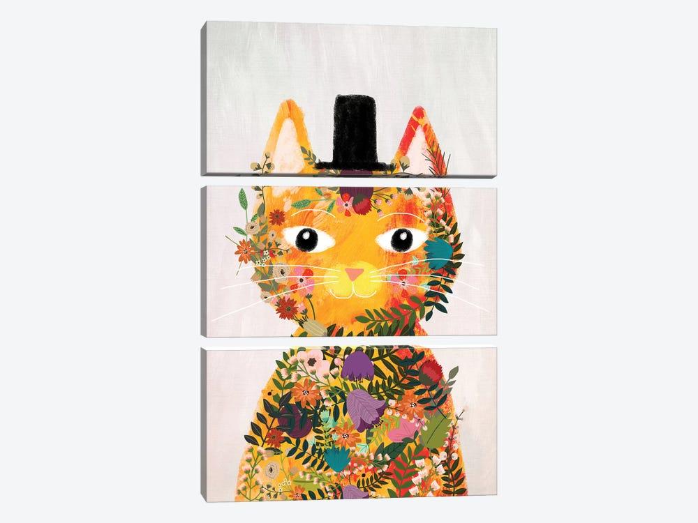 Flower Cat I by Mia Charro 3-piece Canvas Wall Art