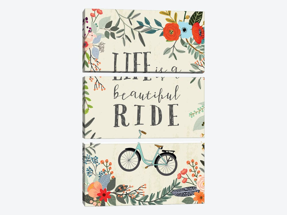 Life Is A Beautiful Ride by Mia Charro 3-piece Canvas Print