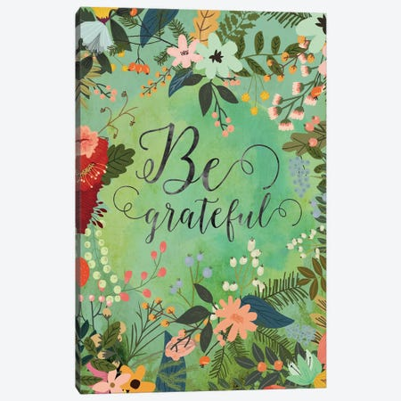 Be Grateful Canvas Print #MIO2} by Mia Charro Canvas Artwork